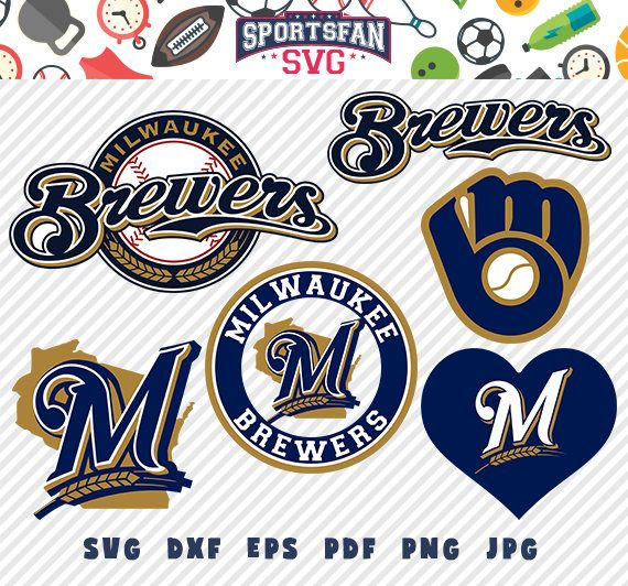 #MilwaukeeBrewers #Milwaukee #Brewers #logo svg pack- #baseballteam, #baseballleague, #baseball #cutfiles #vector #clipart #digitaldownload png, jpg, eps, dxf by SportsFanSVG on #Etsy