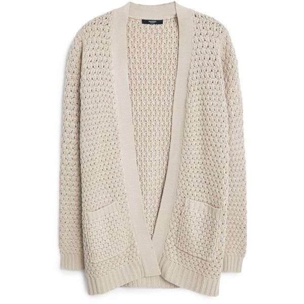 MANGO Side Pockets Cardigan found on Polyvore featuring tops, cardigans, sweaters, jackets, outerwear, pink top, pink long sleeve top, pink cable knit cardigan, mango tops and waterfall cardigan