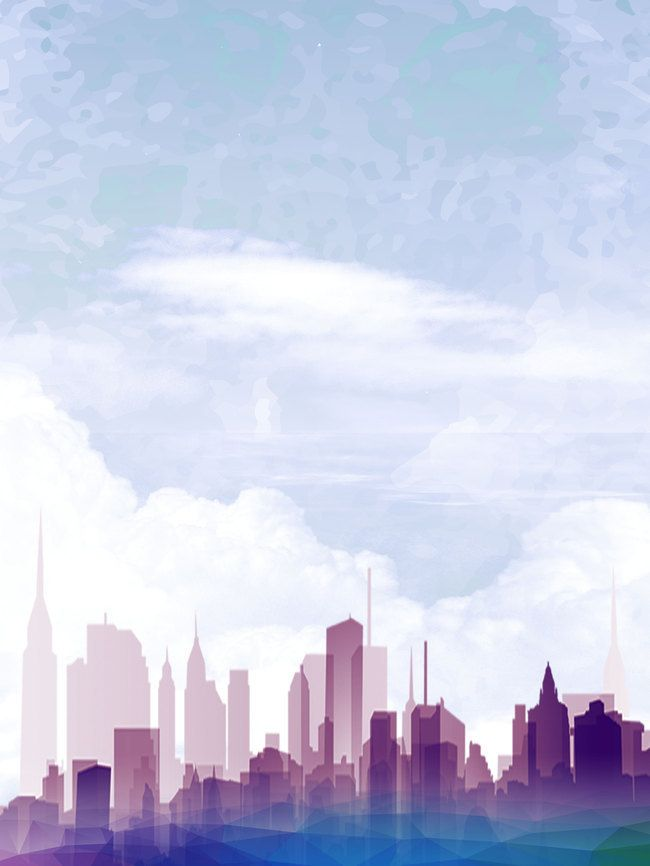 Cartoon City Silhouette Poster Background Psd City Cartoon City Silhouette Background