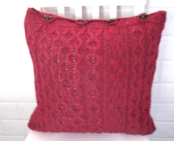 Red Recycled Wool Cushion / Pillow Throw  by TheFeminineTouch, $45.00