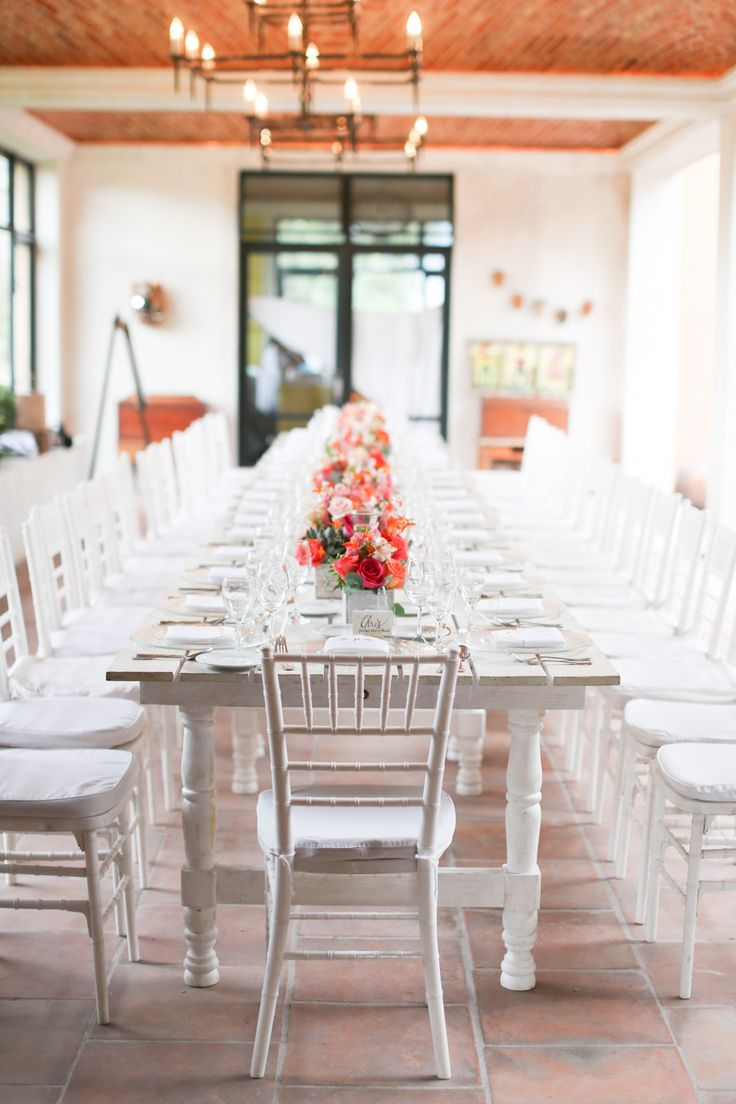 All White + Coral + Pink - Love it! See the feature on SMP: http://www.stylemepretty.com/2013/12/10/san-miguel-de-allende-wedding/ Evan Hunt Photo