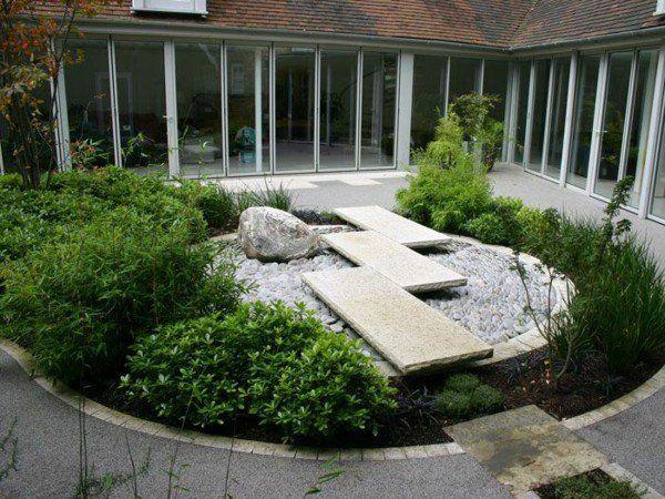 aménagement jardin moderne avec plantes vertes et ardoises