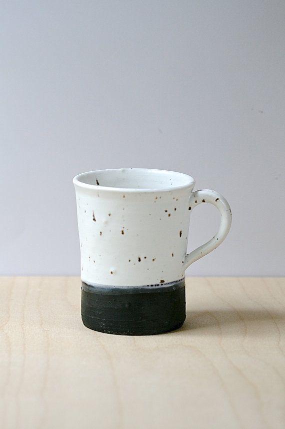 Rustic large handmade ceramic mug 12 oz black and by GolemDesigns