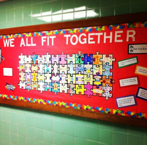 Classroom Design For Students With Autism ~ Kdm autism awareness month bulletin board