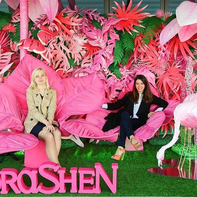 """Фотозона """"Розовые тропики"""" для вечеринки Food Lounge Party. Экзотические цветы, пальмы, фламинго в сочетании с живыми растениями стали ярким украшением открытой террасы на празднике. Каждый гость события мог почувствовать себя героем фантастической сказки!  #lorashen lorashen_studio #photozone #moon #decor #design #art #nature #trends2016 #kyiv #ukraine #cosmoawards #декор #дизайн #тренды2016 #фотозона #свадебныеидеи #идеи #флористика #флорист #декораторы"""