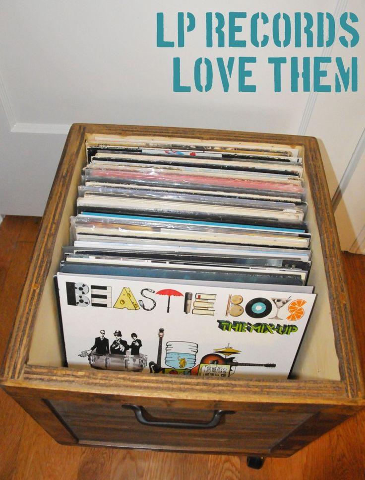 Diy vinyl record lp storage box on wheels stained wood for Diy vinyl storage