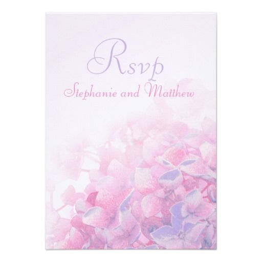 Hydrangea floral formal wedding RSVP pink purple reply card. Designed by www.sarahtrett.com