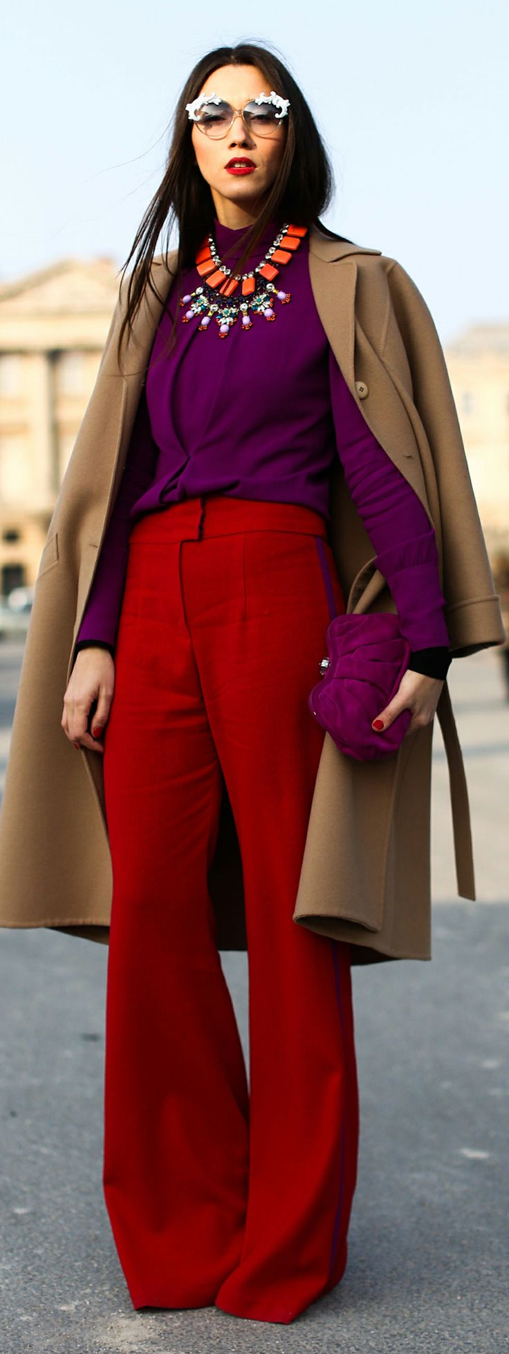 Start planning your chicest pink and red outfit - see more street style ideas here!