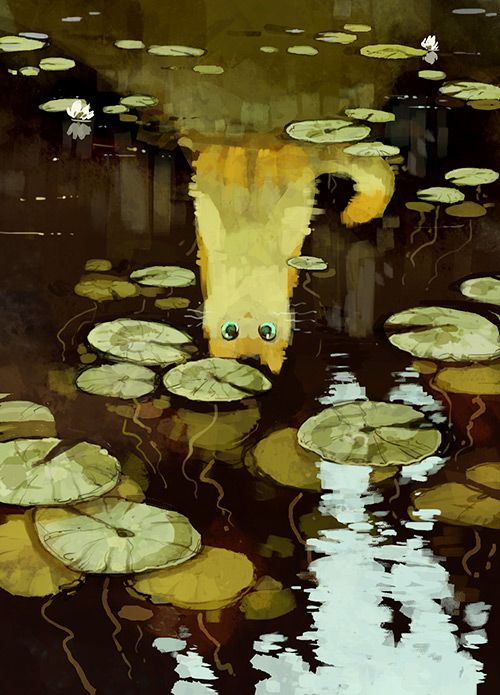 "sssscomic: "" I got a sudden urge to draw some water lilies (or rather their leaves, more specifically), so here you go. Kitty made it into the shot too, aww! """