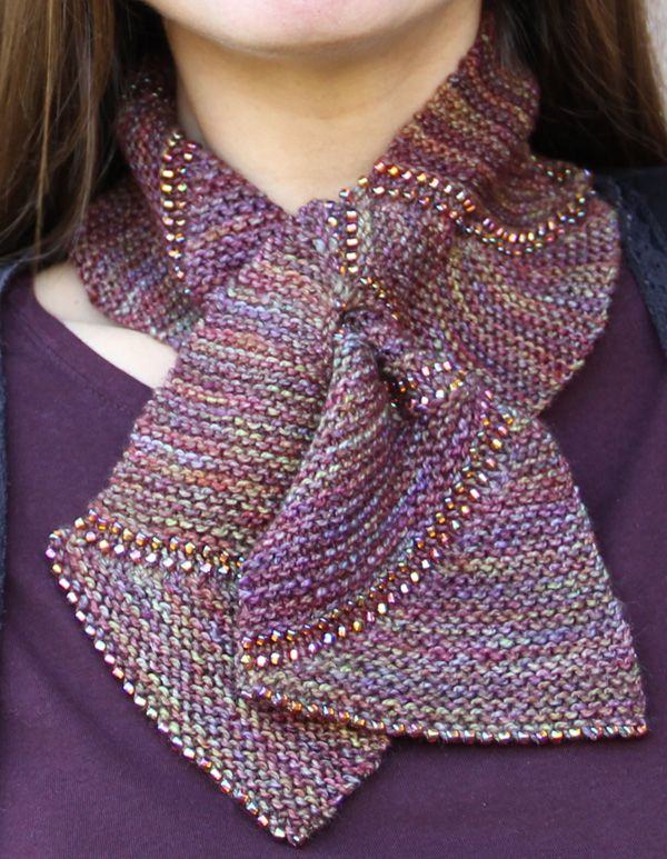 short scarf patterns | ... short row scarflette with beads outlining each section of the scarf