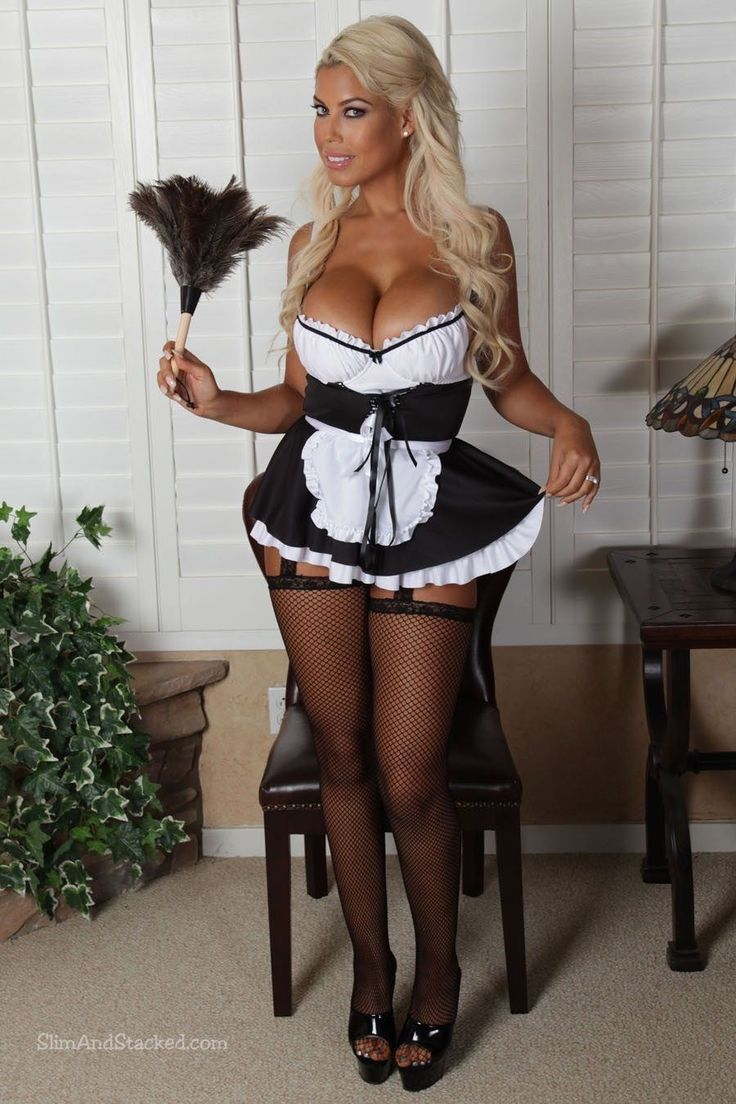 Blonde Busty French Maid  Bow Blouses  French Maid, Maid -1193