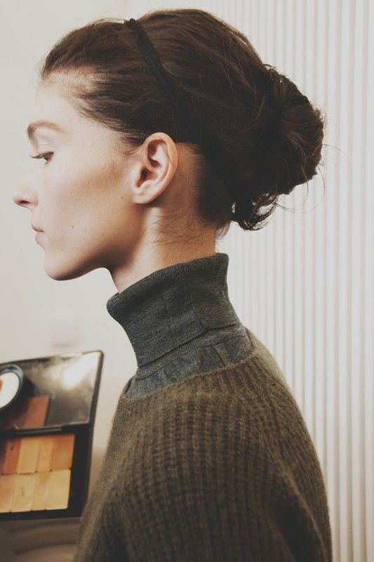 Ballet bun and headband backstage at Margaret Howell AW15 LFW. See more here: http://www.dazeddigital.com/fashion/article/23749/1/margaret-howell-aw15