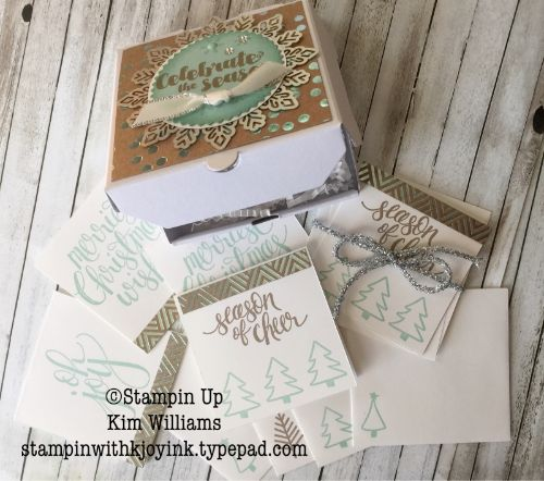 Stampin Up Kim Williams, Stampin with Kjoyink, Pink Pineapple Paper Crafts. Mini Pizza Box gift idea from my Holiday Gift packaging class. Watercolor Christmas and foil frenzy with beautiful sliver snowflakes. Gift cards inside. Stampin Up Holiday Catalog 2017- 2018