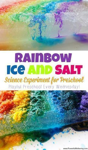 Rainbow Ice and Salt Science Experiment for Preschool