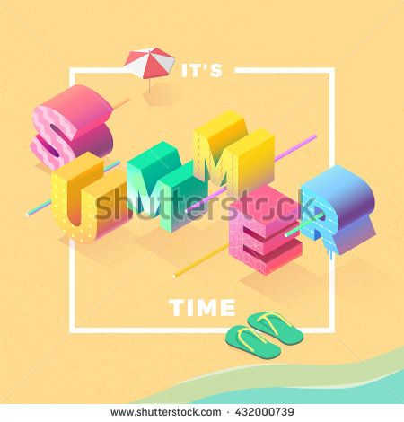 summer isometric sign on beach with flip flop