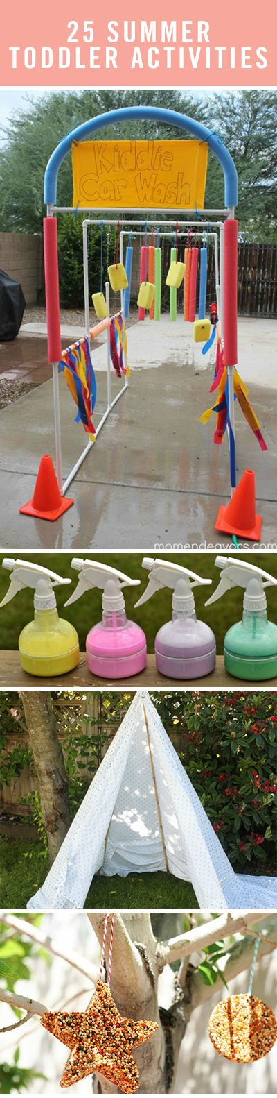 Fun outdoor kids crafts like spray chalk or DIY bird feeders will keep your toddlers entertained all summer long!