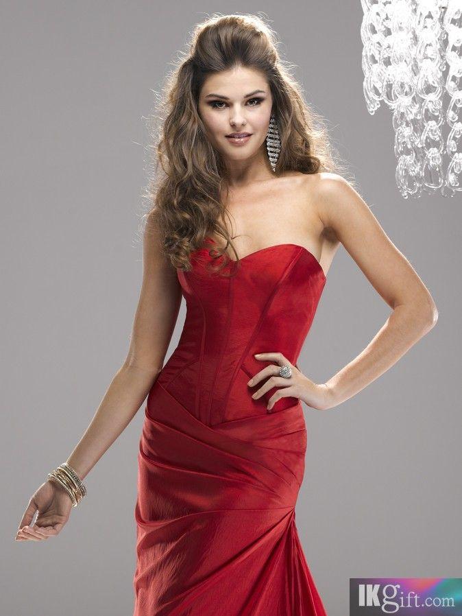 Elegant Sheath Sweetheart Neckline Taffeta with Ruch Floor-Length Prom Dress - Evening Dresses - Special Occasion Dresses - Wedding & Events