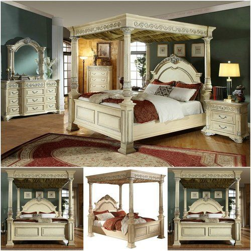 King-Size-Bed-Frame-And-Headboard-With-Canopy-Solid-Wood-Antique-White-Furniture