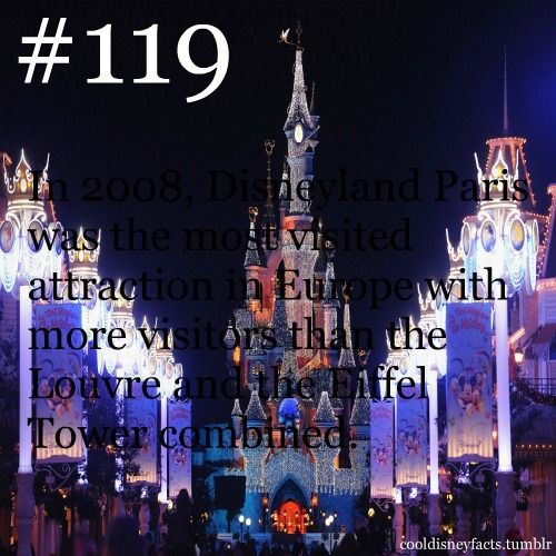 Disney Fact #119 - In 2008, Disneyland Paris was the most visited attraction in Europe with more visitors than the Louvre and the Eiffel Tower combined.
