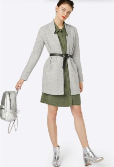 Pale green shirt-dress+siver ankle boots+grey cardigan+black belt+silver backpack. Winter to Spring Casual Outfit 2018
