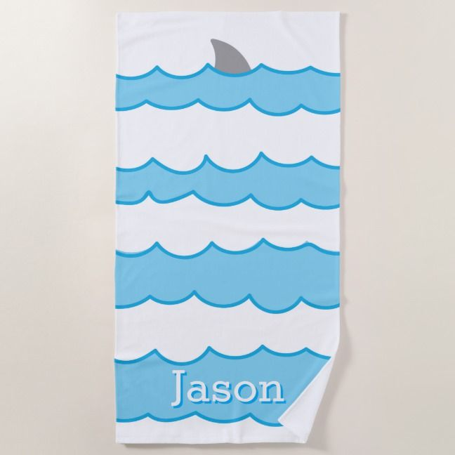 Personalized Whimsical Shark Fin On Water Beach Towel Zazzle Com