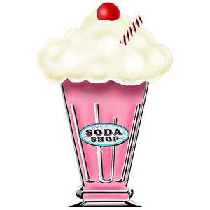 Ice Cream Cup Clip Art | 50's Milkshake Standee Each - Party Supplies ...