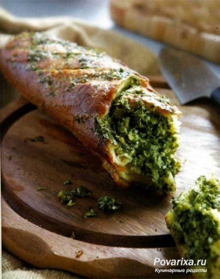 Багет с сыром и чесноком - рецепт бутерброда.