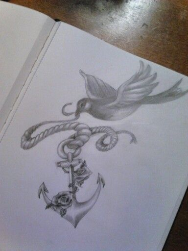 Tattoo idea for a friend. Bird flying with a traditional anchor with roses. Navy bluebird. Artist Allison Birdy Quick.