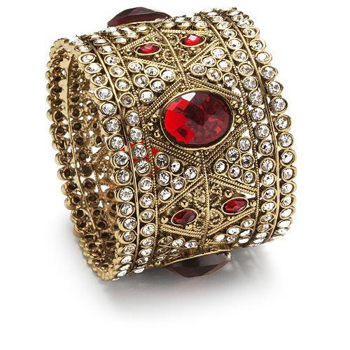 Manbhawati Cuff Bangle --    There is no mistaking the bride in this brilliant cuff. Brilliant diamante sparkles alongside romantic ruby red.