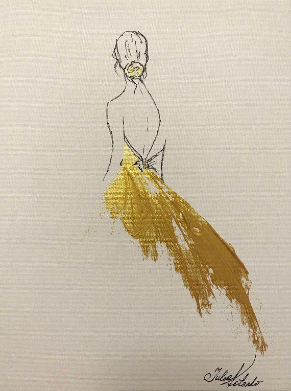 Prinzessin Painting Gold Malerei auf Leinwand Wand Dekor Original