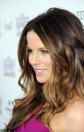 Kate Beckinsale's golden highlights are the perfect way to lighten any hair color for spring. Concentrate on the ends for a bigger impact