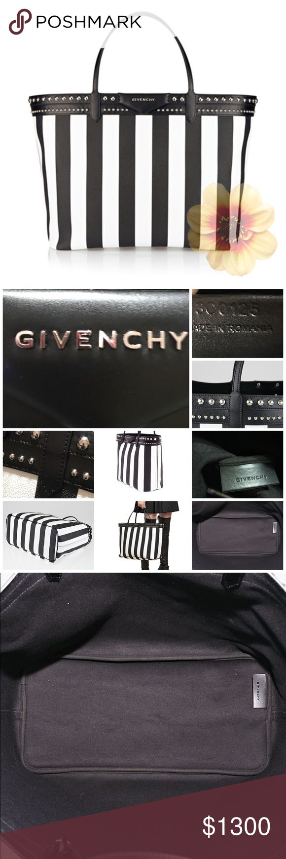 "GIVENCHY B/W Stripe Coated Canvas Antigona Tote Large amazing contrasting striped Antigona tote! features the signature envelope fold logo with a raised metal logo plaque that is synonymous with the Antigona line. This fabulous large sized tote is both feminine and hardworking in stripe-print coated canvas with studded leather trim. A removable matching pouch is a welcomed addition to this tote. Origin: Romania Production Year: 2015 Measurements: 16"" L (at base) x 8"" W x 13"" Handles: Double…"