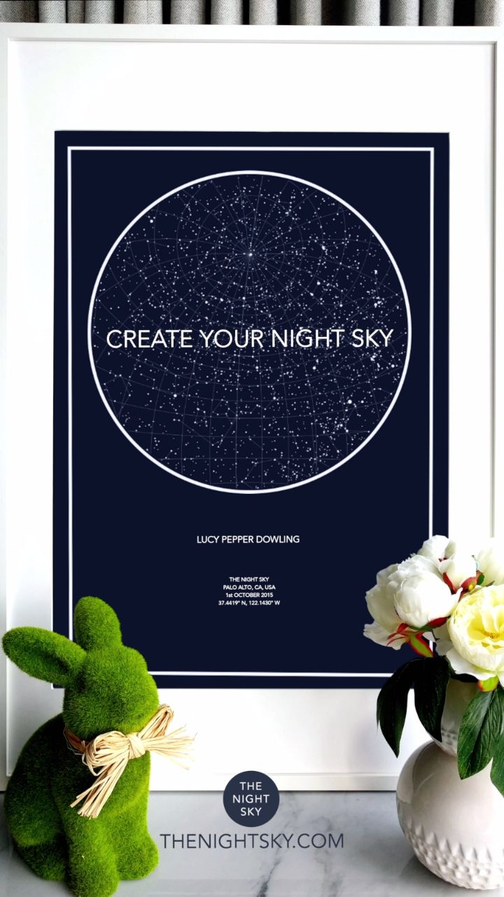 "Was it your first kiss, the birth of a child or that moment you realized your world had changed forever. Give a gift of the stars to always remember that special night.   Create an 18"" x 24"" star map of the night your heart skipped a beat. Printed on the finest Matte Art paper using archival ink. This wall art is of the highest quality."