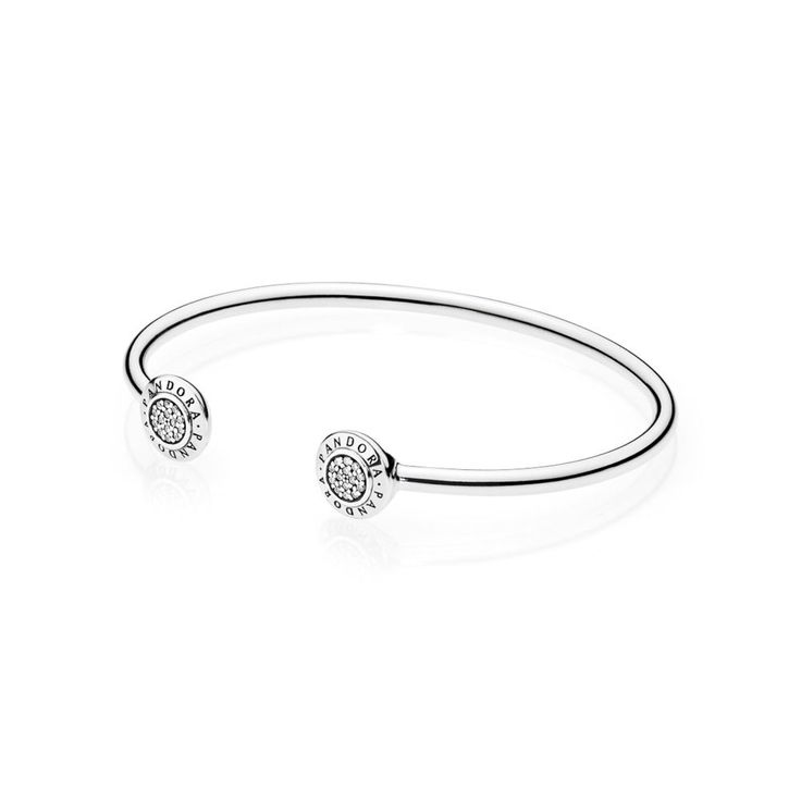 Signature Open Silver Bangle | PANDORA,  PANDORA logo open bangle in .925 sterling silver with 28 pave-set clear cubic zirconia. Please note: this bracelet does NOT hold charms, CA$89.98 10% OFF, Buy Now: http://www.pandoracanada2013.com/pandora-open-bracelet.html