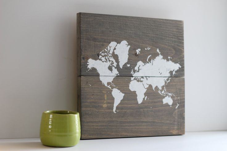 Rustic Wood Map by Teal Blue Studio on Etsy