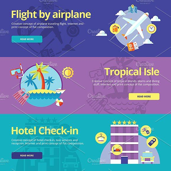 Flat Travel Vector Banners Set Graphics Vector travel and tourism icons set. Illustration for hotel services, travel by flight and tropical by painterr