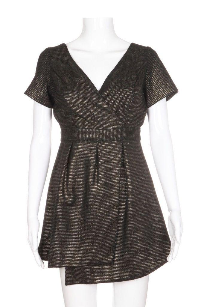 7cf4f0e0e4 KEEPSAKE The Label Mini Black Gold Metallic Skater Dress