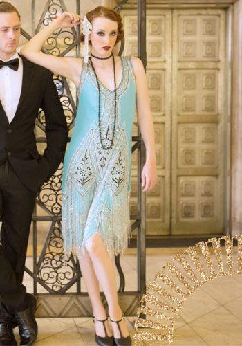 Unique Vintage Turquoise Embroidered Reproduction 1920s Flapper Dress #uniquevintage