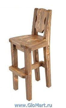 стул барный деревянный, из массива сосны. стилизация под старину.
