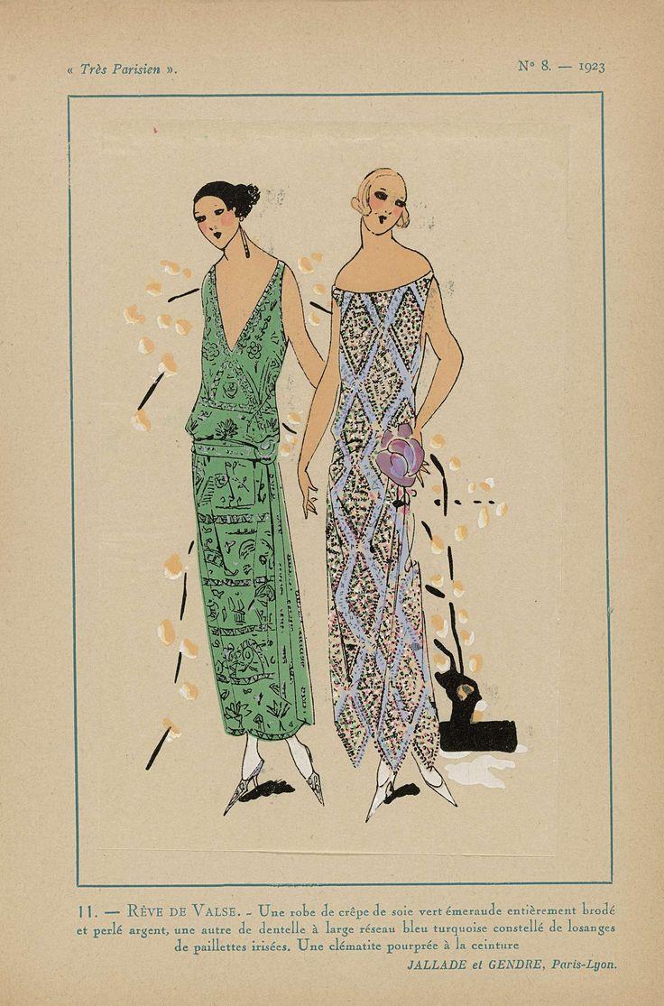 Anonymous | Très Parisien, 1923, No 8: 11.- REVE DE VALSE. - Une robe de crêpe de soie..., Anonymous, Jallade et Gendre, G-P. Joumard, 1923 | Jurk van smaragdgroene crêpe de soie geheel geborduurd met zilverkleurige kralen. De andere jurk is van turquoise kant 'à large réseau' bezaaid met iriserende pailletten. Een paarse clematis bij het ceintuur. Stofen van Jallade et Gendre. Prent uit het modetijdschrift Très Parisien (1920-1936).
