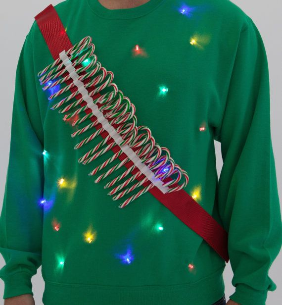 Candy Cane Ammo Light up Ugly Sweater  LED by SilverSpoonLifestyle