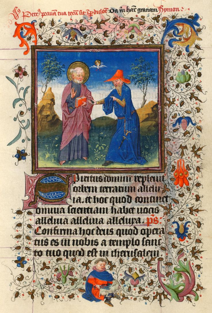 Simon Magus Seeks to Buy Peter's Power | Hours of Catherine of Cleves, in Latin Illuminated by the Master of Catherine of Cleves | Utrecht, The Netherlands | ca. 1440 | The Morgan Library & Museum