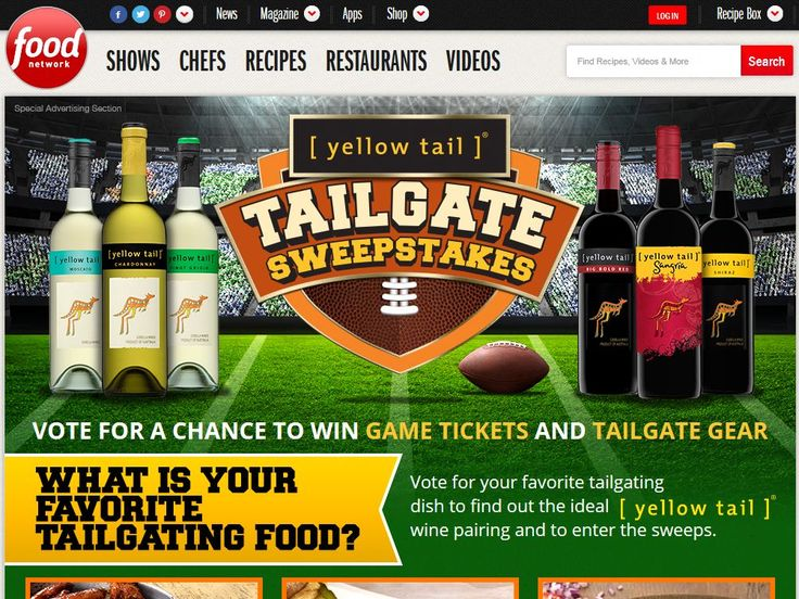 Enter the Food Network Yellow Tail Gate Sweepstakes for a chance to win Four tickets to a local Sporting Even and a Tailgating experience Package!
