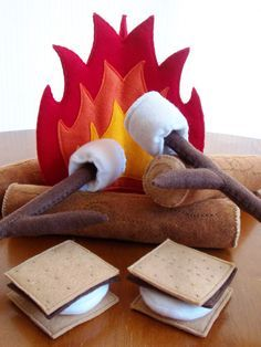 Felt Campfire Eco Friendly Children's Pretend Play Set - Camp Fire, 3 Logs, 2 S'mores, 2 Roasting Sticks, and 2 Roasting Marshmallows on Etsy, $65.00