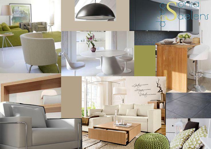 Planche tendance pour l'aménagement d'une pièce de vie dans un esprit scandinave moderne