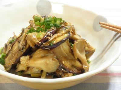 簡単一品☆焼きナスと舞茸のわさびポン酢仕立て