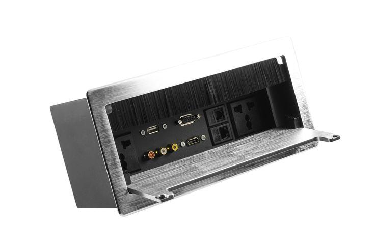 Grommet aulux plus, con acabado cepillado, disponible en color gris y negro. Compuesto por 2 toma corriente, 1 voz, 1 dato, 1 vga, 1 hdmi, 1 usb y 1 rca. Para mayor información www.dicy.co