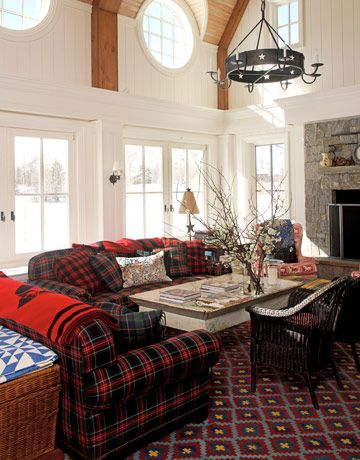 Camden sofa and loveseat in Black Stewart Tartan from Ralph Lauren Home.