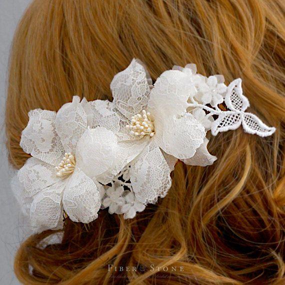 Lace Bridal Headpiece, Winter Wedding Headpiece, Lace Wedding Hairpiece, Bridal…