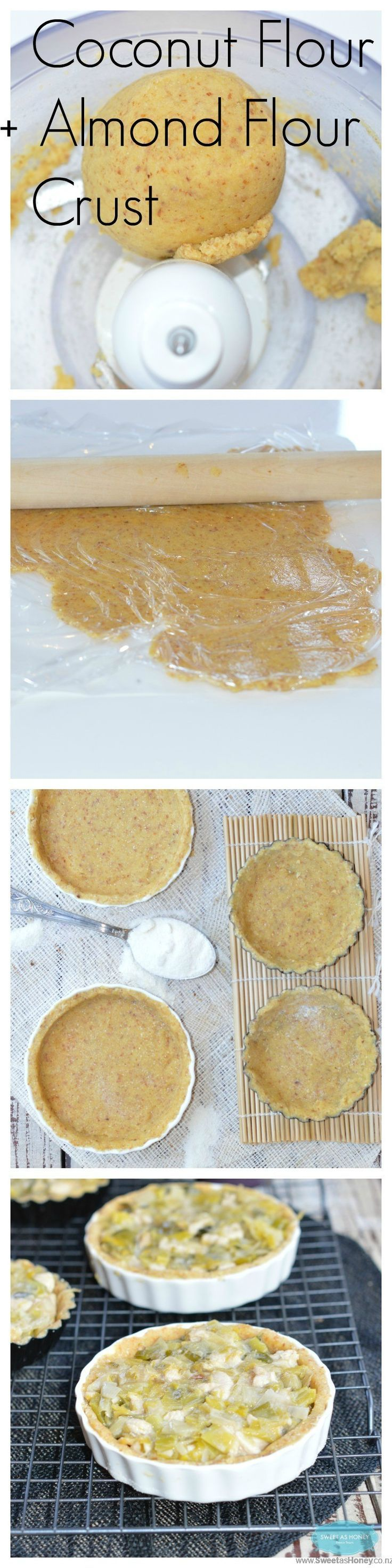 Grain Free pie crust made with almond meal and Coconut flour. Sugar free. Perfect for a dessert pie or lunch pie. By www.sweetashoney....